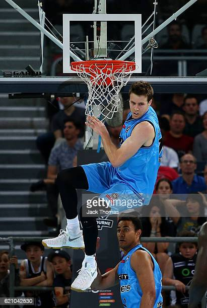 Thomas Abercrombie of the Breakers dunks the ball during the round five NBL match between Melbourne United and the New Zealand Breakers on November 4...