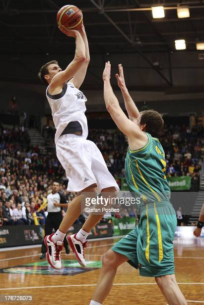 Thomas Abercrombie of the Tall Blacks puts up a shot during the Men's FIBA Oceania Championship match between the Australian Boomers and the New...
