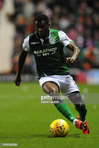 Thomas Agyepong of Hibernian FC in action during the Scottish League Cup match between Hibernian and Aberdeen at Easter Road on September 25 2018 in...