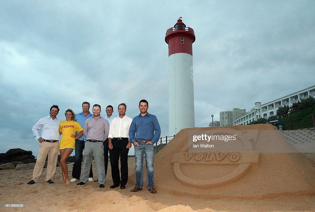 Thomas Aiken, Dowie Van de Wart, Branden Grace, Charl Schwartzel, Darren Fichardt and Louis Oosthuizen of South Africa pose for a group photo for the 2014 Volvo Golf Champions as a preview for the 2014 Volvo Golf Champions on the beach at Umhlanga at Durban Country Club on January 8, 2014 in Durban, South Africa.