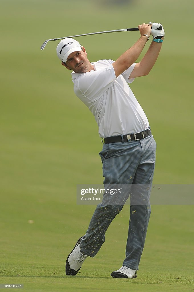 Thomas Aiken of South Africa in action during day 3 of the Avantha Masters at Jaypee Greens Golf Course on March 16, 2013 in Noida, India.