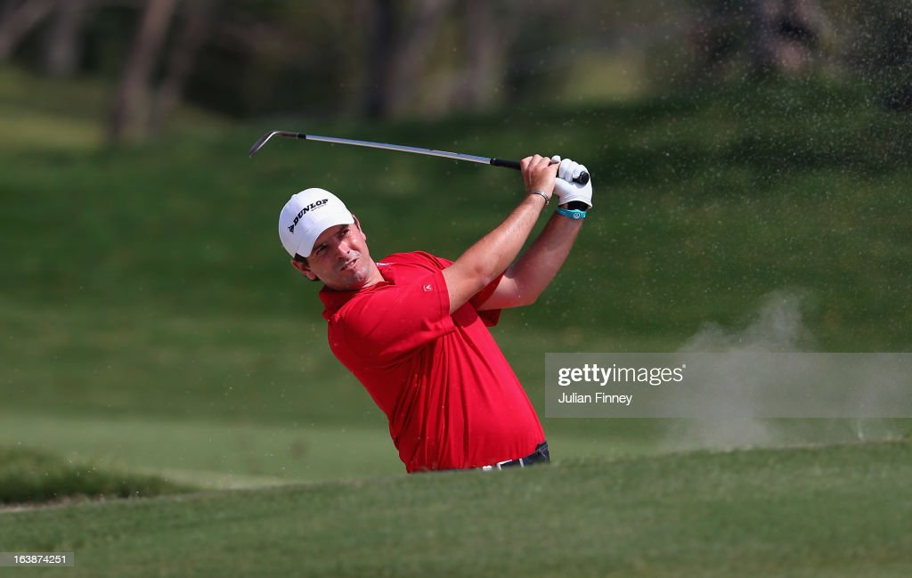 Thomas Aiken of South Africa in action during day four of the Avantha Masters at Jaypee Greens Golf Club on March 17, 2013 in Delhi, India.