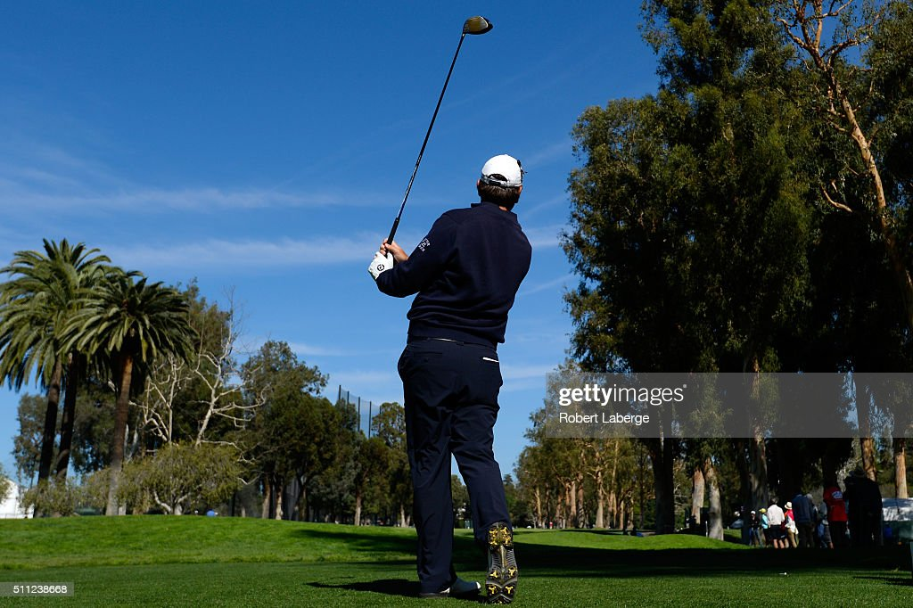 Thomas Aiken tees off on the 11th hole during round one of the Northern Trust Open at Riviera Country Club on February 18, 2016 in Pacific Palisades, California.