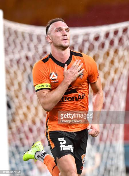 Thomas Aldred of the Roar celebrates scoring a goal during the round 18 ALeague match between the Brisbane Roar and Adelaide United at Suncorp...