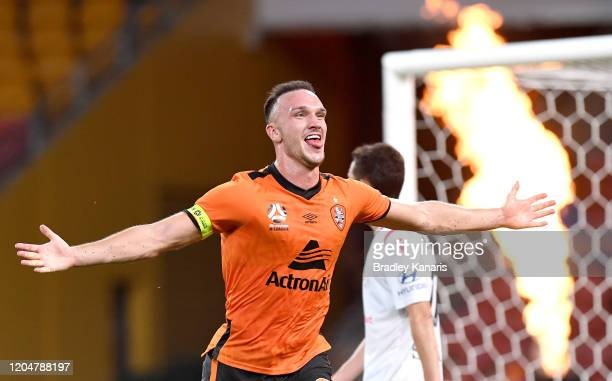 Thomas Aldred of the Roar celebrates scoring a goal during the round 18 A-League match between the Brisbane Roar and Adelaide United at Suncorp...