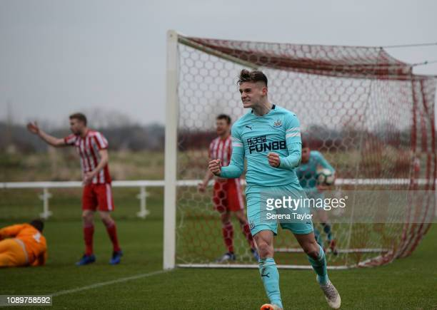 Thomas Allan of Newcastle United celebrates after his assist to Elias Sorensen who scored Newcastle's equalizing second goal during the premier...