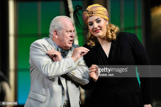 Thomas Allen as Music Master and Lise Davidsen as Prima Donna in Glyndebourne's production of Richard Strauss's Ariadne Auf Naxos on June 20 2017 in...