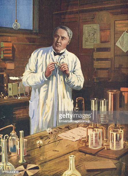 Thomas Alva Edison American inventor at work on incandescent light bulbs in his laboratory at Menlo Park