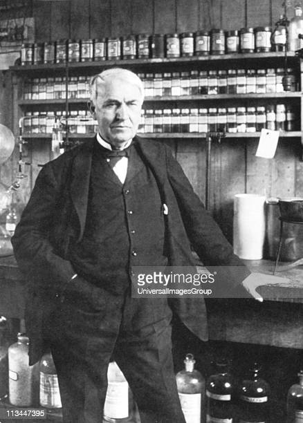 Thomas Alva Edison American inventor in his laboratory at Menlo Park