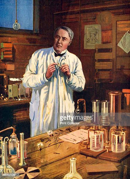Thomas Alva Edison American inventor in his laboratory at Menlo Park New Jersey USA working on the perfection of the incandescent light bulb 1870s...