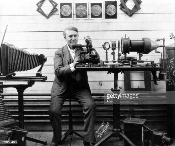 Thomas Alva Edison american inventor of phonograph here in his laboratory c 1893