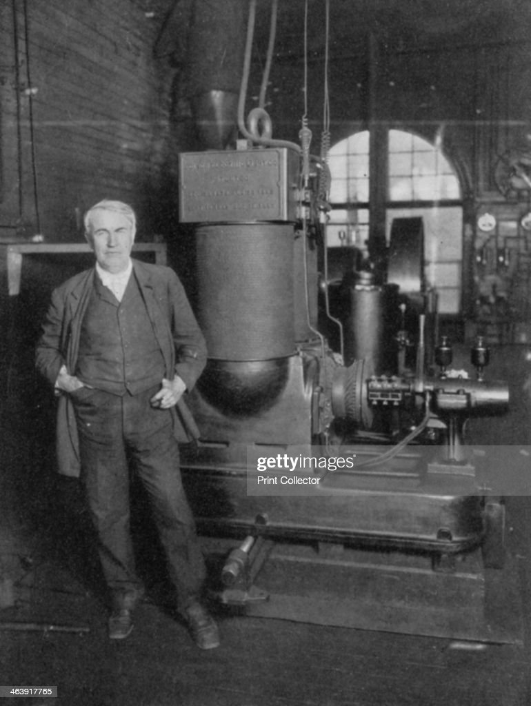 Thomas Alva Edison, American inventor, with his first dynamo for ... for Electric Lamp Thomas Edison  8lpfiz