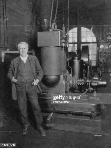Thomas Alva Edison American inventor with his first dynamo for producing electric light 1880s Edison was a prolific inventor who registered over 1000...