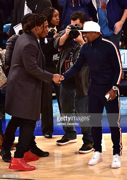 Thomas and Floyd Mayweather Jr attend the Minnesota Timberwolves vs New York Knicks game at Madison Square Garden on December 16 2015 in New York City