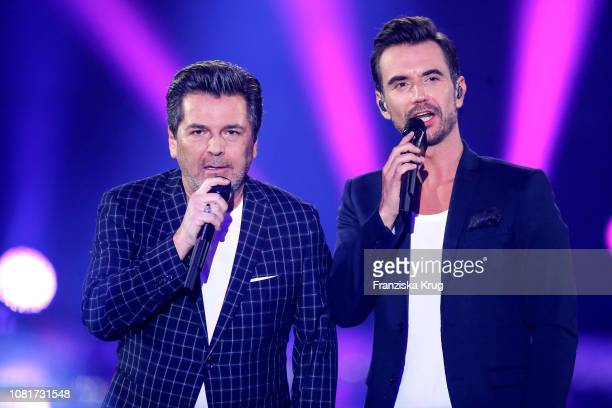 Thomas Anders and Florian Silbereisen during the television show 'Schlagerchampions Das grosse Fest der Besten' at Velodrom on January 12 2019 in...