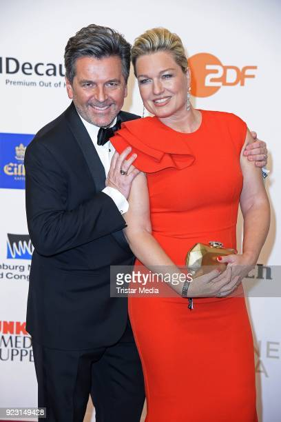 Thomas Anders and his wife Claudia Hess attend the Goldene Kamera on February 22 2018 in Hamburg Germany