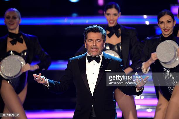 Thomas Anders performs during the national tv show 'Willkommen bei Carmen Nebel' at TUI Arena on March 28, 2015 in Hanover, Germany.