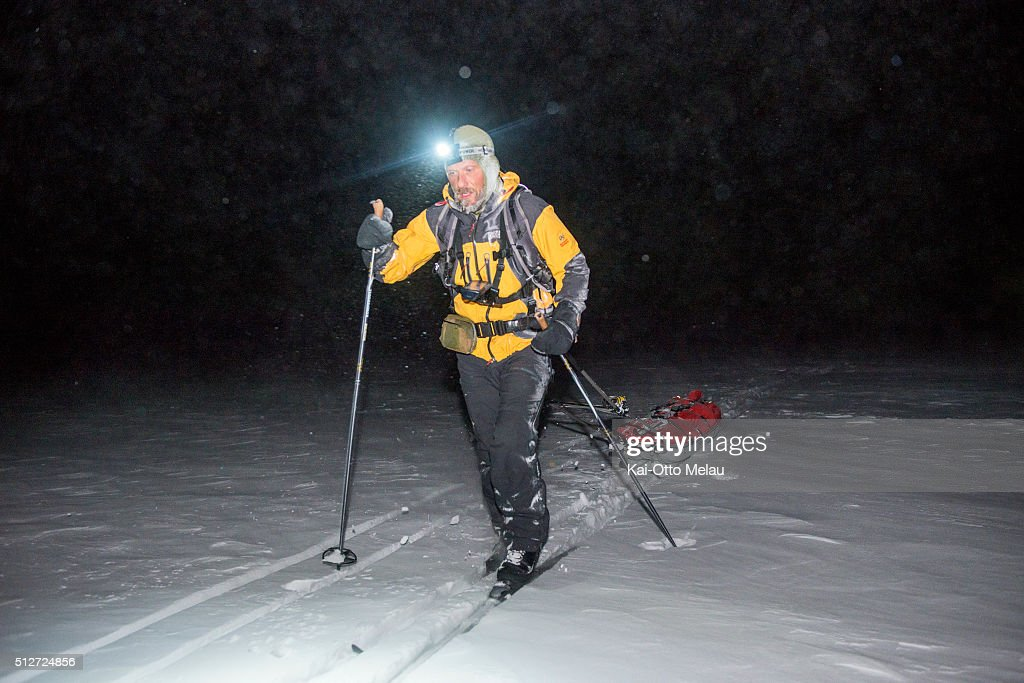 Thomas Andersen during Expedition Amundsen on February 27, 2016 in Eidfjord, Norway. Expedition Amundsen is called the world`s hardest skirace. 40km across the Hardangervidda, 40kg in the sled and 100km. The race follows the path of the explorer Roald Amundsen.
