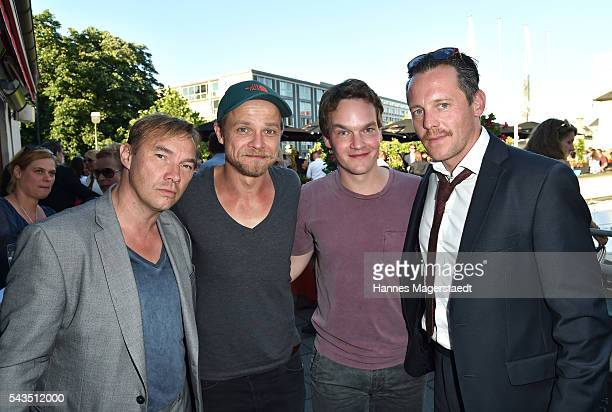 Thomas Arnold Matthias Koeberlin Ludwig Blochberger and Johannes Zirner during the Bavaria Film reception during the Munich Film Festival 2016 at...