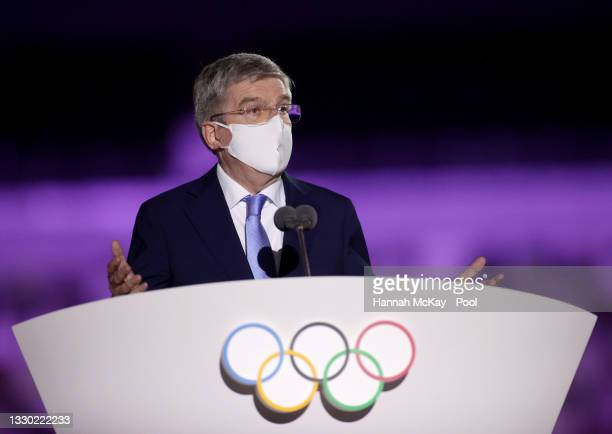 Thomas Bach, IOC President makes a speech during the Opening Ceremony of the Tokyo 2020 Olympic Games at Olympic Stadium on July 23, 2021 in Tokyo,...