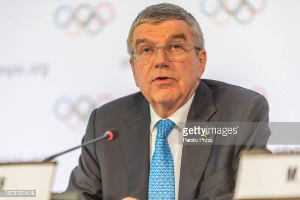 Thomas Bach, IOC President, who chairs the press conference regarding the Coronavirus in relation to the working group that has been set up for the...
