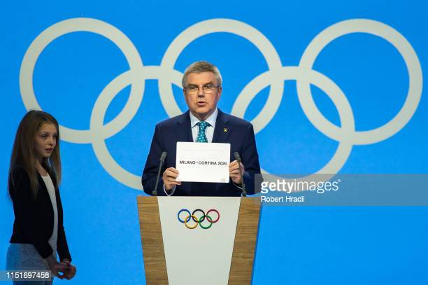 Thomas Bach, President of International Olympic Committee announces Milano-Cortina the winner of the bid for Olympic Games 2026 during IOC...