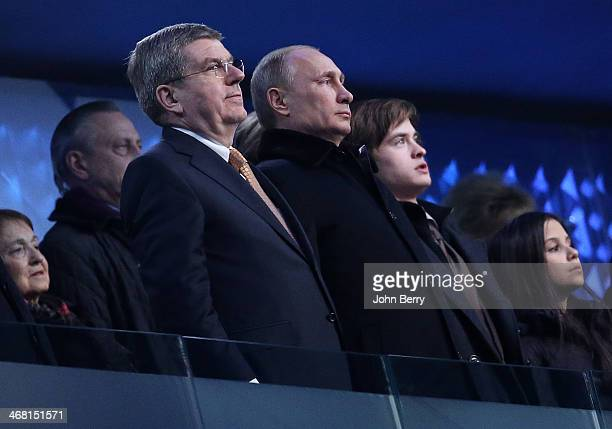Thomas Bach President of the International Olympic Committee and Vladimir Putin President of Russia attend the Opening Ceremony of the 2014 Winter...