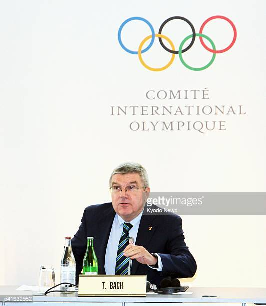 Thomas Bach president of the International Olympic Committee speaks at the opening of the Olympic Summit at the IOC headquarters in Lausanne...