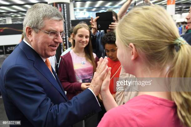 Thomas Bach, president of the International Olympic Committee , visits World Table Tennis Championships at Messe Duesseldorf on June 1, 2017 in...