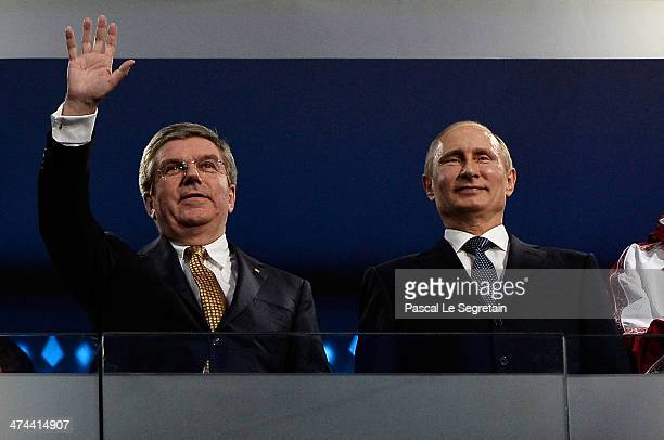 Thomas Bach President of the IOC and Russian President Vladimir Putin attend the 2014 Sochi Winter Olympics Closing Ceremony at Fisht Olympic Stadium...