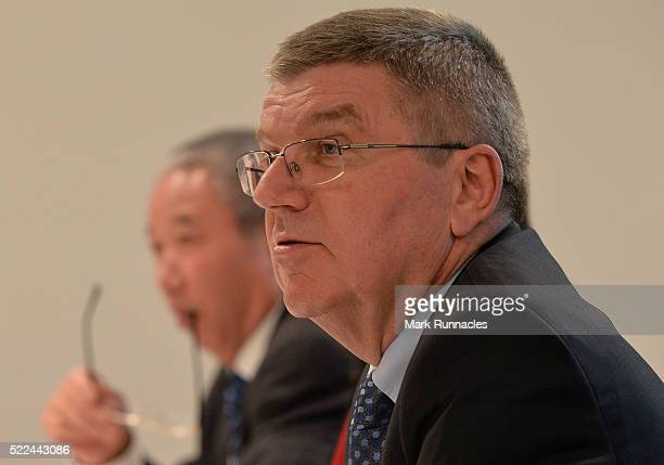 Thomas Bach President of the IOC at the IOC/AIOWF Joint Meeting underway during the third day of SportAccord Convention at the SwissTech Convention...