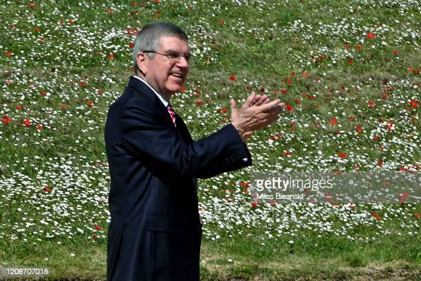 Thomas Bach, President of the IOC, attends the opening of the Olympic flame torch relay for the Tokyo 2020 Summer Olympics on March 12, 2020 in...