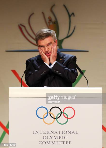 Thomas Bach reacts as he is announced as the ninth IOC President during the 125th IOC Session IOC Presidential Election at the Hilton Hotel on on...