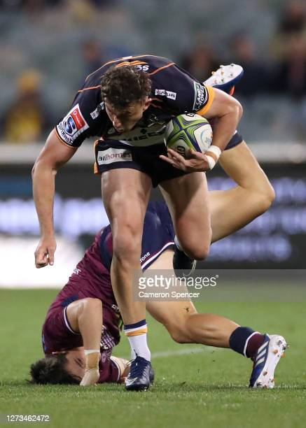 Thomas Banks of the Brumbies is tackled during the Super Rugby AU Grand Final between the Brumbies and the Reds at GIO Stadium on September 19, 2020...