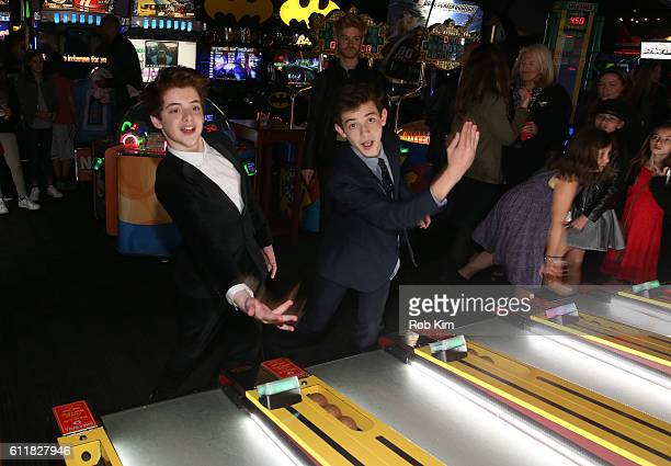 Thomas Barbusca and Griffin Gluck attend the New York Screening afterparty for Middle School: The Worst Years of My Life at Dave & Buster's on...