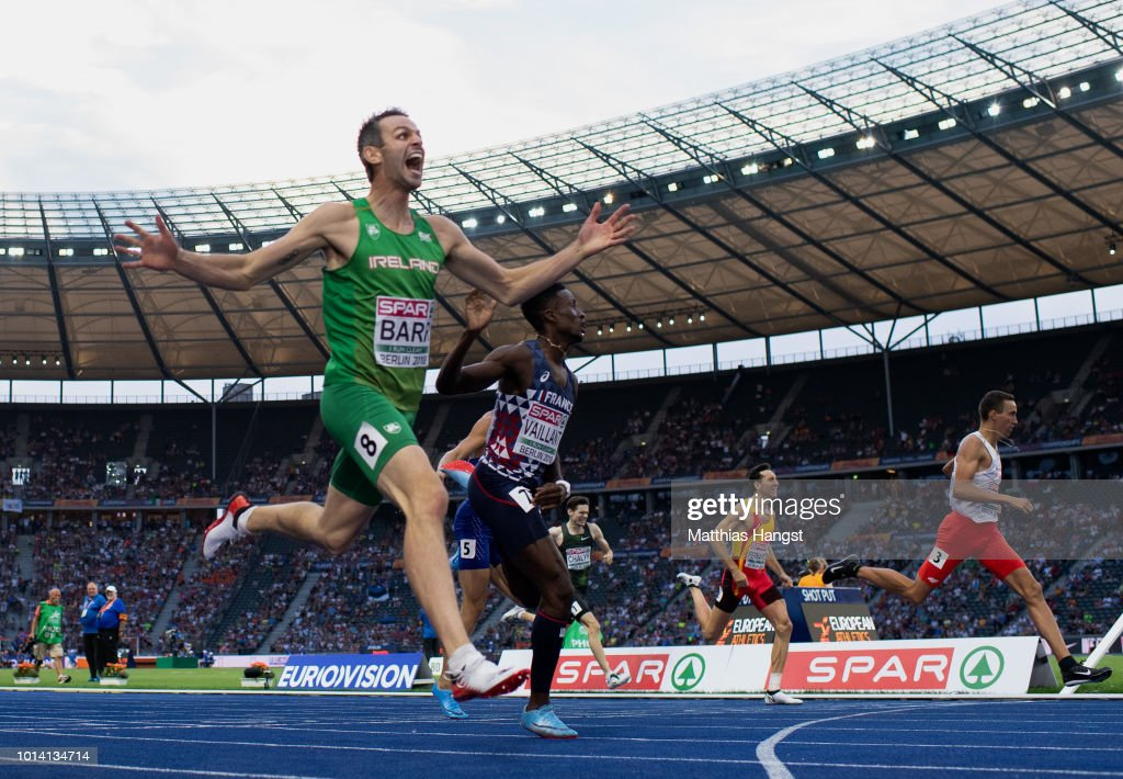 Thomas Barr of Ireland celebrates after winning a bronze medal in the Men's 400m Hurdles Final during day three of the 24th European Athletics Championships at Olympiastadion on August 9, 2018 in Berlin, Germany. This event forms part of the first multi-sport European Championships.