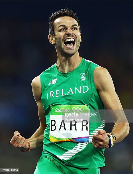 Thomas Barr of Ireland reacts during the Men's 400m Hurdles Semifinals on Day 11 of the Rio 2016 Olympic Games at the Olympic Stadium on August 16...