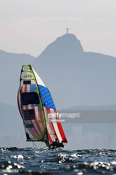 Thomas Barrows of the United States and Joe Morris of the United States compete in the Men's 49er class on Day 10 of the Rio 2016 Olympic Games at...
