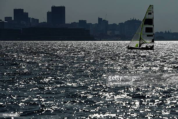Thomas Barrows of the United States and Joe Morris of the United States compete in the Men's 49er class on Day 11 of the Rio 2016 Olympic Games at...