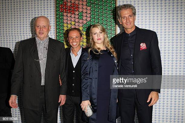 Thomas Bayrle Nicolo Cardi Barbara Berlusconi and Massimiliano Finazzer Flory attend the Thomas Bayrle preview at the Cardi Black Box Gallery on...
