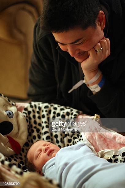 Thomas Beatie a transgender male returns home with his new son Jensen James Beatie a day after giving birth to him on July 26 2010 in Bend Oregon...
