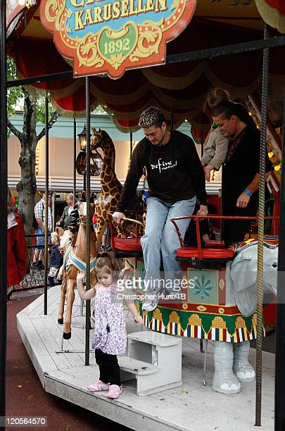 Thomas Beatie and his family enjoy a day at Grona Lund amusement park on August 7 2011 in Stockholm Sweden