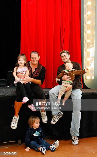 Thomas Beatie and his family wife Nancy Austin Susan and Jensen enjoy a day at Grona Lund amusement park on August 7 2011 in Stockholm Sweden