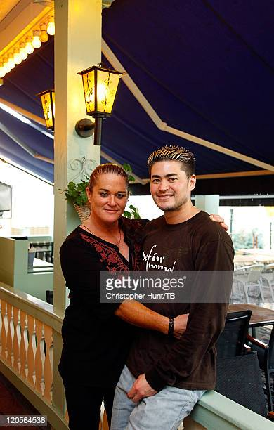 Thomas Beatie and his wife Nancy Beatie enjoy a day at Grona Lund amusement park on August 7 2011 in Stockholm Sweden