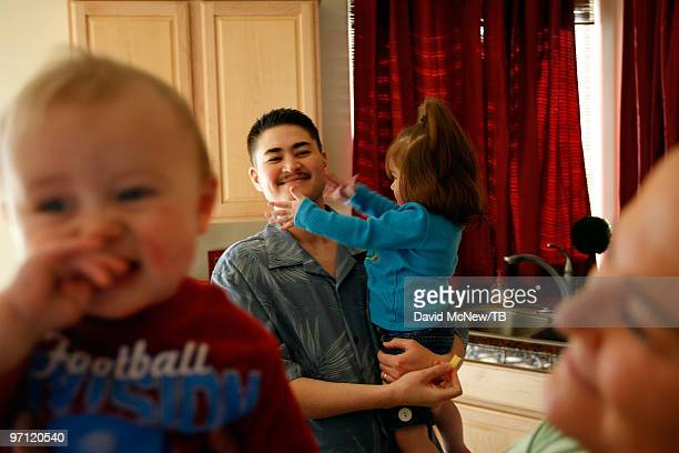 Thomas Beatie and wife Nancy Beatie go about their daily family life with daughter Susan Juliette Beatie and son Austin Alexander Beatie on February...