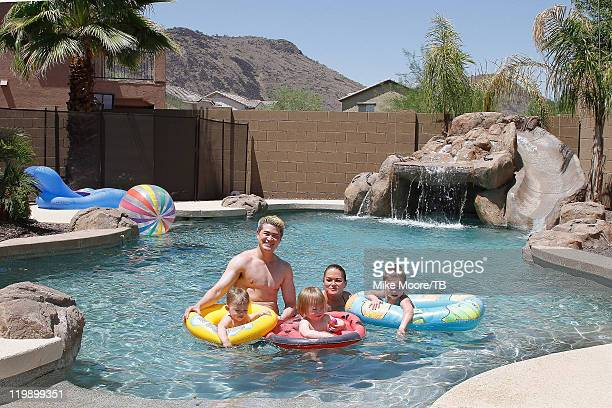 Thomas Beatie and wife Susan Beatie enjoy their pool with sons one year old Jensen Beatie Two year old Austin Beatie and three year old daughter...
