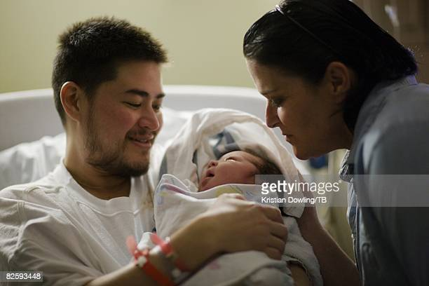 ACCESS*** Thomas Beatie his wife Nancy Beatie and their baby Susan Juliette Beatie at the Cascade Healthcare Community Hospital on June 29 2008 in...
