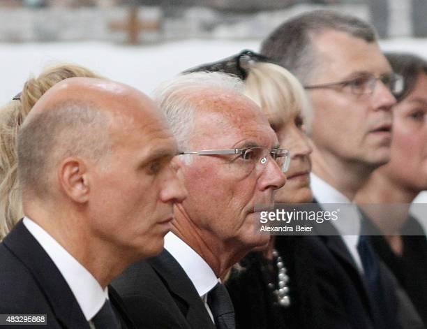 Thomas Beckenbauer Franz Beckenbauer Brigitte Beckenbauer and Michael Beckenbauer attend a memorial service for recentlydeceased Stephan Beckenbauer...