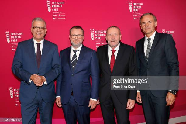 Thomas Bellut Christian Krug Helmut Schleweis and Oliver Blume attend the Deutscher Gruenderpreis at ZDF Hauptstadtstudio on September 11 2018 in...
