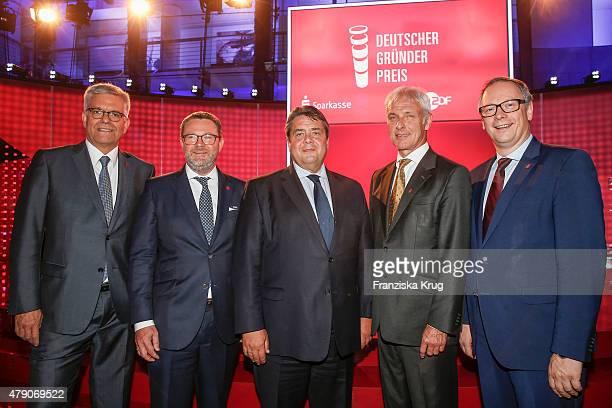Thomas Bellut Christian Krug Sigmar Gabriel Matthias Mueller and Georg Fahrenschon attend the Deutscher Gruenderpreis 2015 on June 23 2015 in Wetzlar...